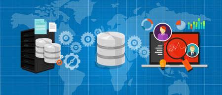 Illustration pour data integration database connect media files chart symbol analysis vector - image libre de droit