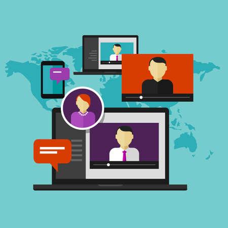 Illustration pour webinar online training education concept vector distance learning e-learning - image libre de droit
