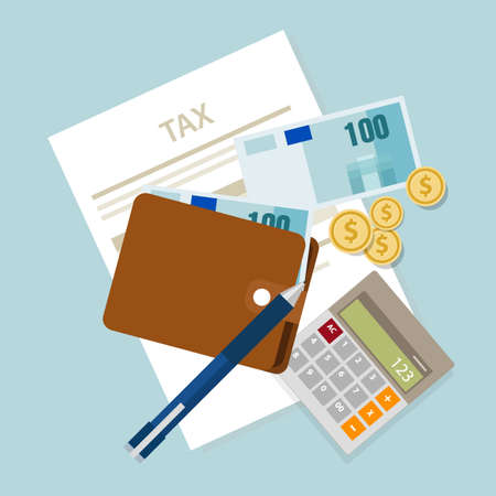 Photo pour pay tax taxes money icon income taxation currency calculating vector - image libre de droit