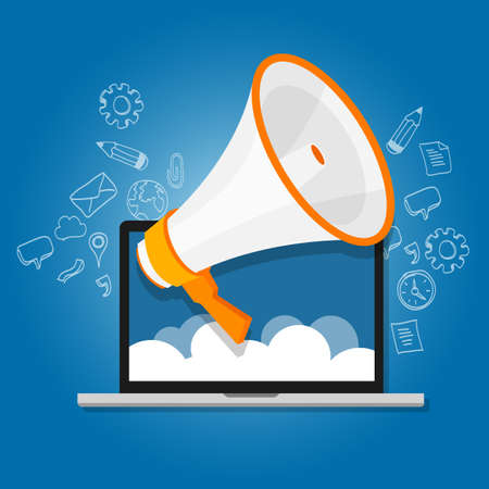 Illustration pour megaphone announce speaker shout online public relation marketing digital vector - image libre de droit