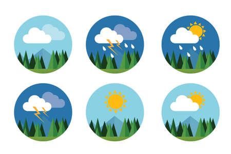 Illustration pour weather icon set flat vector forecast sky cloud sunny thunder with mountain - image libre de droit