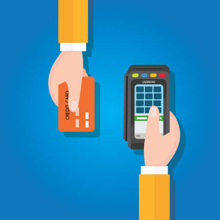 Illustration pour pay merchant hands credit card flat vector illustration payment edc electronic data capture transaction blue - image libre de droit