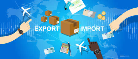 Illustration for export import global trade world map market international vector - Royalty Free Image