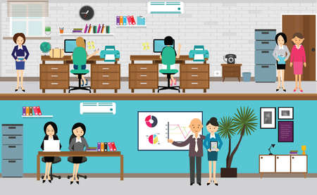 Illustration pour people working at office in flat vector illustration busy teamwork at desk computer standing presentation drawing - image libre de droit