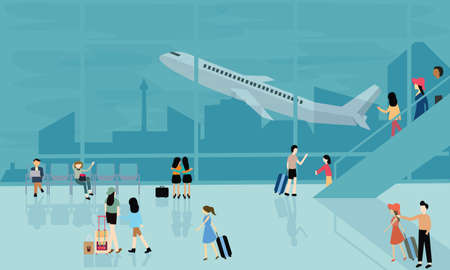 people at airport vector travel activities illustration  departure arrival  flight plane busy walking