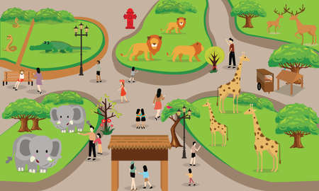 Illustration pour zoo cartoon people family with animals scene vector illustration background from top landscape drawing - image libre de droit