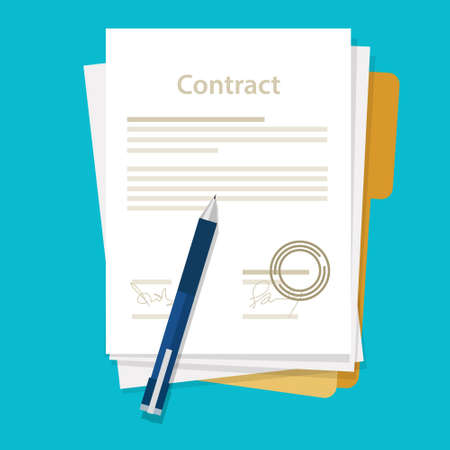 Illustration pour signed paper deal contract icon agreement  pen on desk  flat business illustration vector drawing - image libre de droit