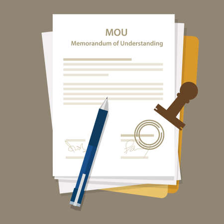 Illustration pour mou memorandum of understanding legal document agreement stamp vector - image libre de droit