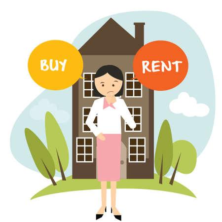 Illustration pour buy or rent house home apartment woman decide vector illustration buying renting drawing - image libre de droit