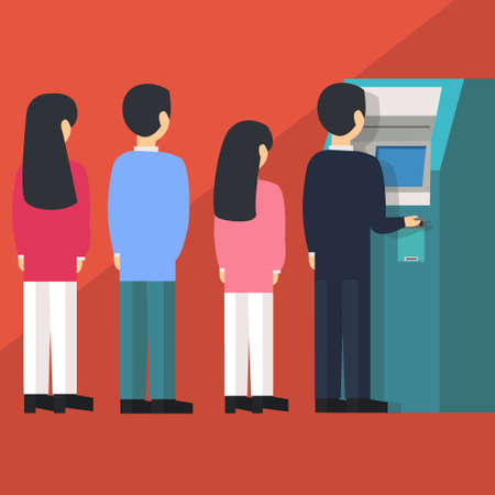 people waiting in line queue to draw money from self-service ATM Automated Teller Machine cartoon illustration flat