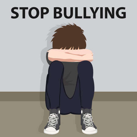 Illustration pour stop bullying kids bully victim young child bullied vector illustration cartoon - image libre de droit