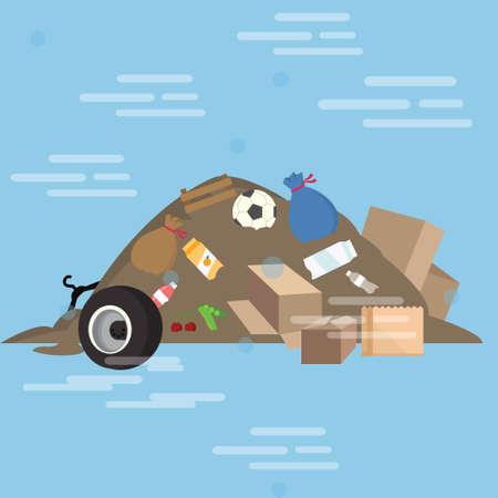 Illustration pour garbage pile waste product dirty vector cartoon illustration junk yard bulk - image libre de droit