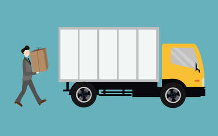 Illustrazione per people moving bring box into truck container transport - Immagini Royalty Free