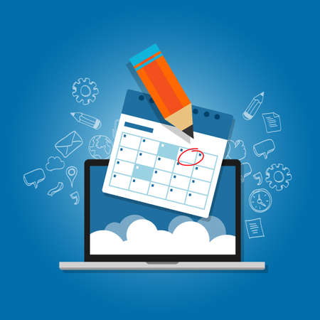 Illustration pour mark circle your calendar agenda online cloud planning laptop vector - image libre de droit