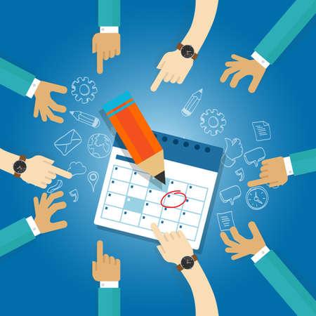 Illustration pour action plan calendar deadline target collaboration team meetings agenda business date next milestone achieve date together - image libre de droit