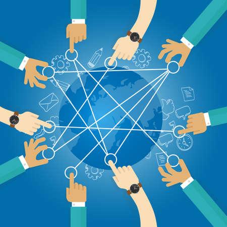 Ilustración de connecting world building transportation network globe collaboration team work interconnection infrastructure - Imagen libre de derechos