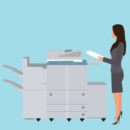 Illustration for photo copy copier machine office woman standing copying document  big photocopier vector - Royalty Free Image