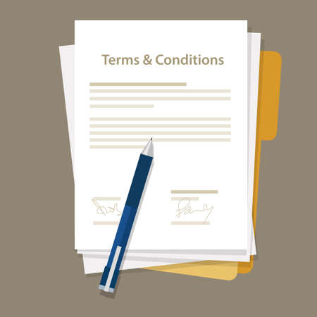 Illustration pour terms and condition of contract document signed vector - image libre de droit