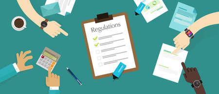 Illustration pour regulation law standard corporation document requirement paper - image libre de droit