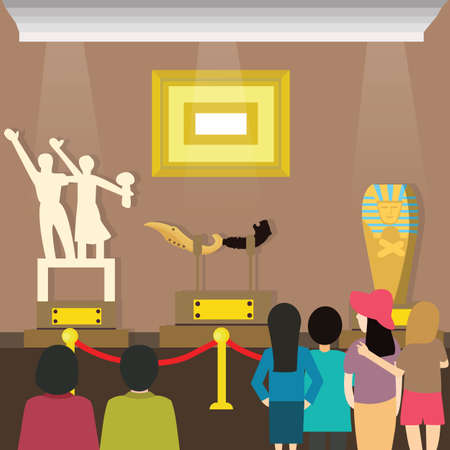 Illustration pour people visits to museum visitor looking painting and sclupture at art exhibition vector - image libre de droit