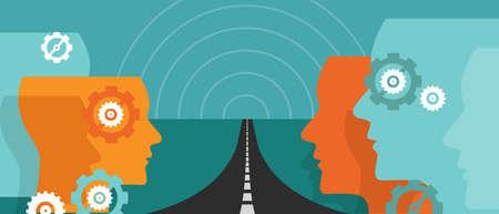 Illustration pour road ahead future concept of change hope plan journey leader vision uncertainty vector - image libre de droit