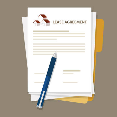Illustration pour Lease agreement property house document paper pen vector - image libre de droit