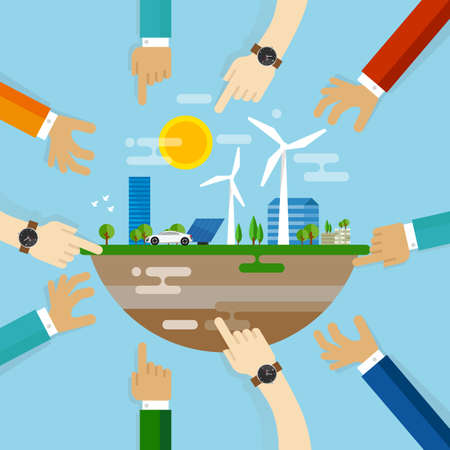 Illustration pour Eco friendly city development planning together collaboration with community on managing livable sustainable world - image libre de droit