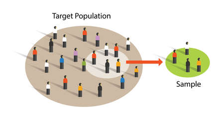 Illustration for sample from population statistics research survey methodology selection concept - Royalty Free Image