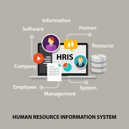 Illustration pour HRIS Human Resources Information System software application company vector - image libre de droit