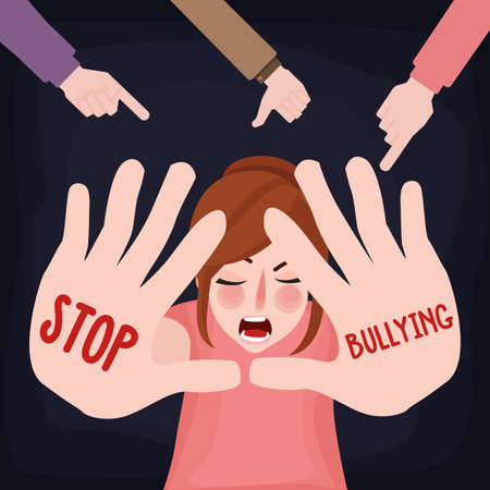 Illustration for Stop bullying child abuse girl sad victim scared woman with hand sign - Royalty Free Image