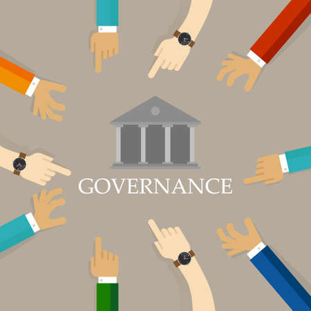 Illustration pour Good corporate governance concept. Accountable organization transparent management symbol with hands and building icon. - image libre de droit