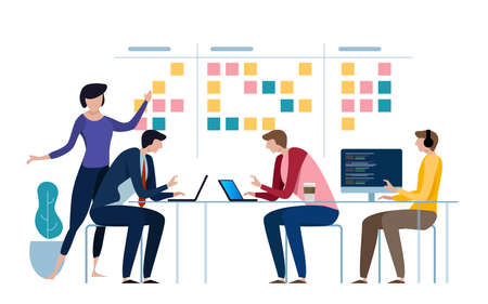 Ilustración de Agile business team of programmer working and make some planning on the scrum board. Whiteboard and process teamwork, scheme methodology. Vector illustration - Imagen libre de derechos