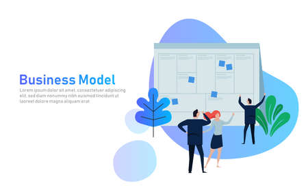 Illustration pour Illustration concept the man present with whiteboard business model canvas. Vector illustration flat. team work together as corporation company plan written in large paper. - image libre de droit