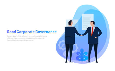 Illustrazione per Good Corporate Governance. Business team agree on set of principle and cooperation. Vector - Immagini Royalty Free