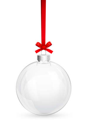 Illustration for Christmas glass ball with red bow - Royalty Free Image