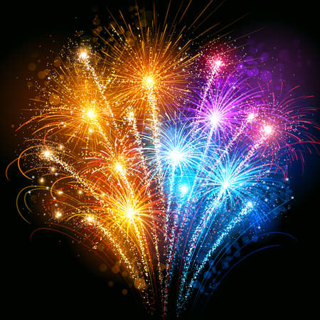Illustration pour Bright colorful fireworks against the dark sky - image libre de droit