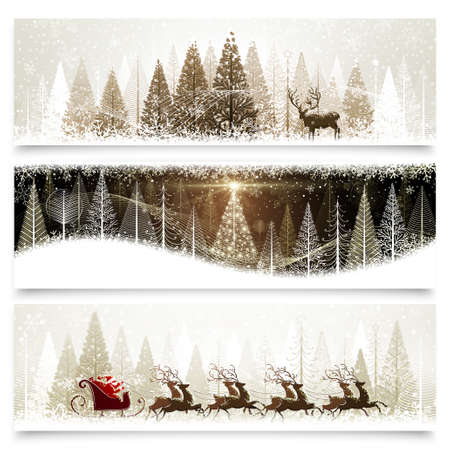 Illustration for Collection of banners with Christmas landscapes - Royalty Free Image
