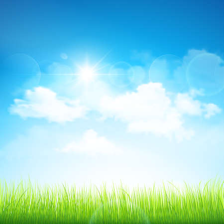 Illustration pour Natural background with green grass and blue sky with clouds  Vector - image libre de droit