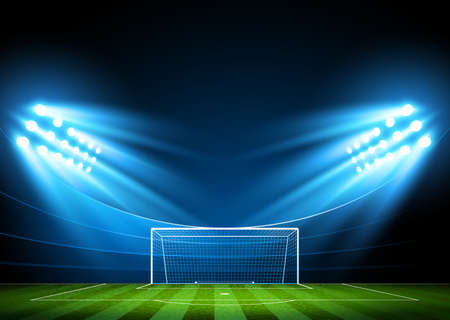 Illustration pour Soccer stadium, arena in night illuminated bright spotlights  Vector - image libre de droit