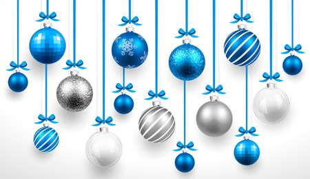Illustration pour Christmas blue balls.  - image libre de droit