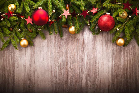 Foto per Christmas Decoration over wooden background - Immagine Royalty Free
