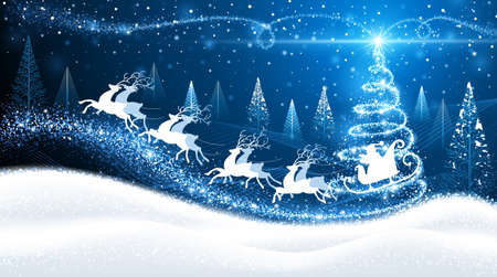 Illustration pour Christmas card with reindeer and Santa on background of magic trees - image libre de droit