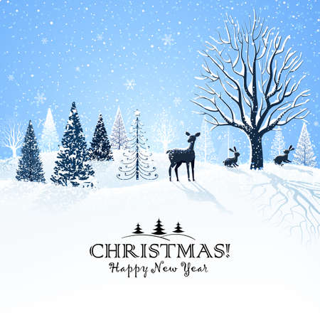 Illustration pour Christmas card with snowy trees and reindeer - image libre de droit