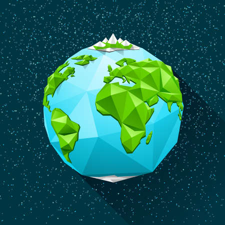 Illustration pour Planet Earth low poly. Vector polygonal illustration - image libre de droit