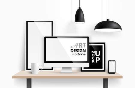Illustration for Modern workspace design mock up background. Vector - Royalty Free Image