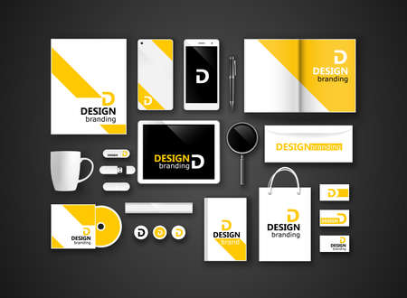 Illustration pour Set of corporate identity and branding on dark background. Vector illustration - image libre de droit