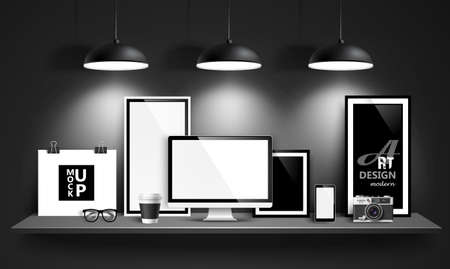Illustrazione per Modern workspace design mock up background. Vector - Immagini Royalty Free