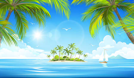 Illustration for Tropical island with palm trees. Vector illustration - Royalty Free Image