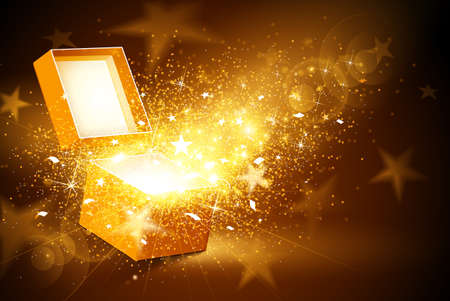 Illustration pour Christmas background with open golden box with stars and confetti - image libre de droit