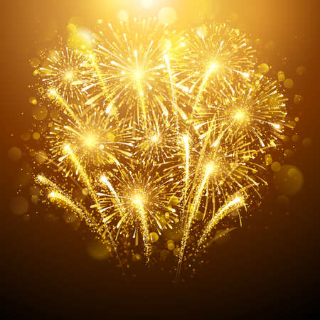 Illustration pour New Year fireworks on dark background. Vector illustration - image libre de droit